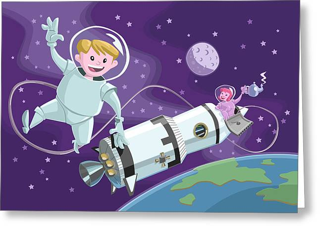 Space Illustration Greeting Cards - Tea Time Space Walk Greeting Card by Martin Davey