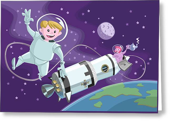Tea Time Space Walk Greeting Card by Martin Davey