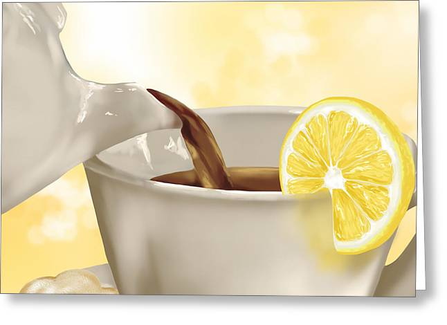 Recently Sold -  - Lemon Art Greeting Cards - Tea time Greeting Card by Veronica Minozzi
