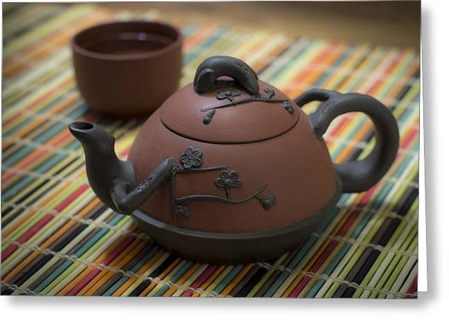 Oriental Teapot Greeting Cards - Tea Time Greeting Card by Wayne Meyer