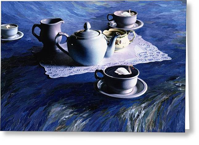 Doily Greeting Cards - Tea Time With Gordy, 1998 Paper Mosaic Collage Greeting Card by Ellen Golla