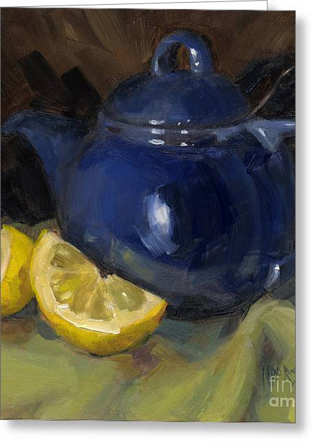 Interior Still Life Paintings Greeting Cards - Tea Toddlers Greeting Card by Nancy  Parsons