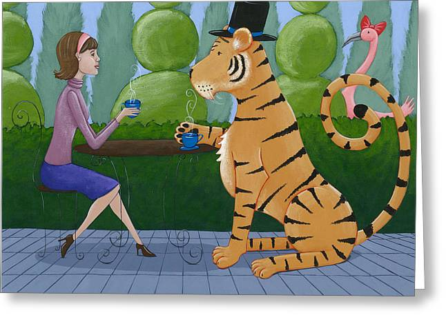 Tiger Illustration Greeting Cards - Tea with a Tiger Greeting Card by Christy Beckwith