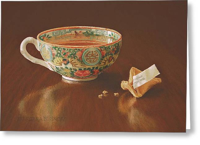 Cup Pastels Greeting Cards - Tea With Good Fortune Greeting Card by Barbara Groff