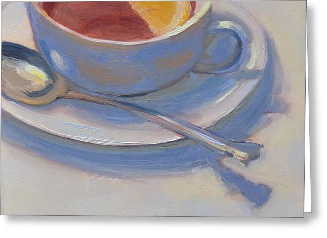 Mary Byrom Greeting Cards - Tea with Lemon Greeting Card by Mary Byrom