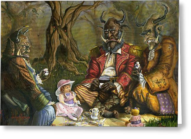 Tea with the Ogres Greeting Card by Jeff Brimley