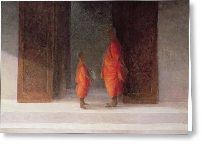 Buddhist Monks Greeting Cards - Teacher, 2005 Acrylic On Canvas Greeting Card by Lincoln Seligman