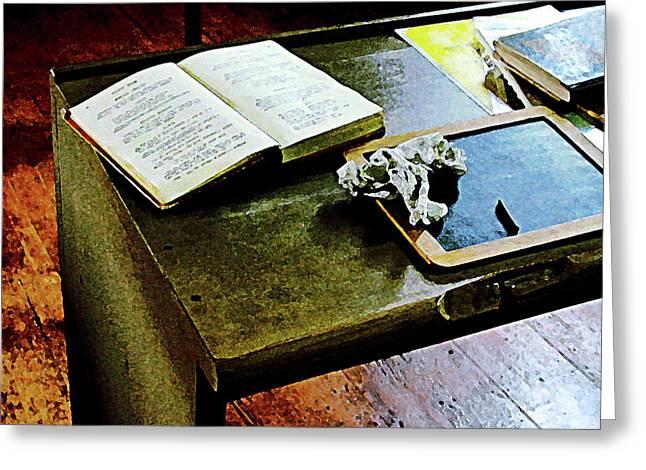 Desk Greeting Cards - Teacher - Blackboard and Book Greeting Card by Susan Savad