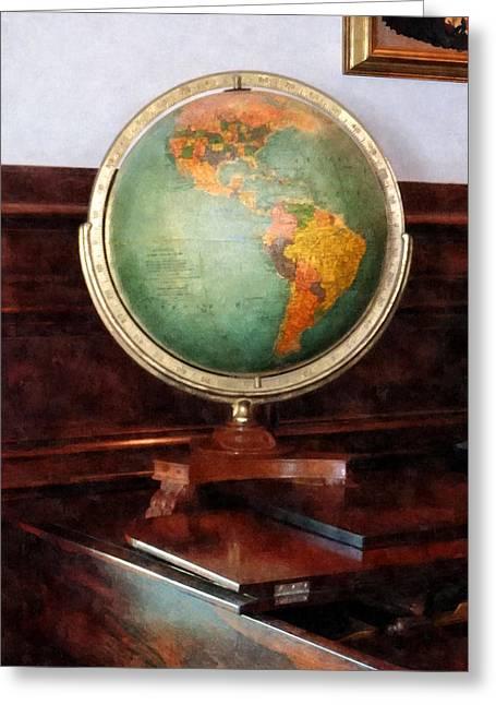Teachers Greeting Cards - Teacher - Globe on Piano Greeting Card by Susan Savad