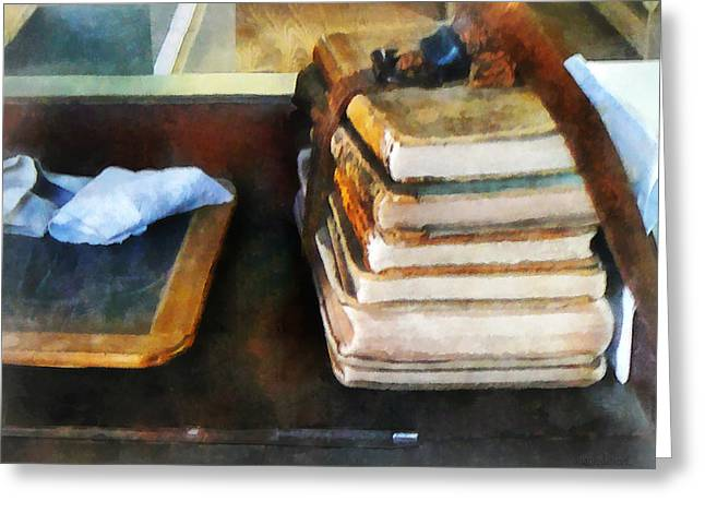 Schoolroom Greeting Cards - Teacher - Old School Books and Slate Greeting Card by Susan Savad