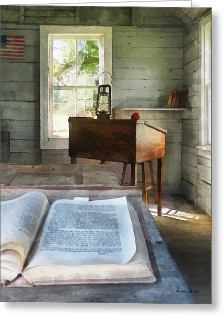 Teacher - One Room Schoolhouse With Book Greeting Card by Susan Savad