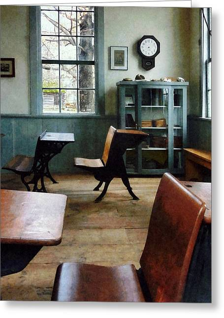 Blackboards Greeting Cards - Teacher - One Room Schoolhouse With Clock Greeting Card by Susan Savad