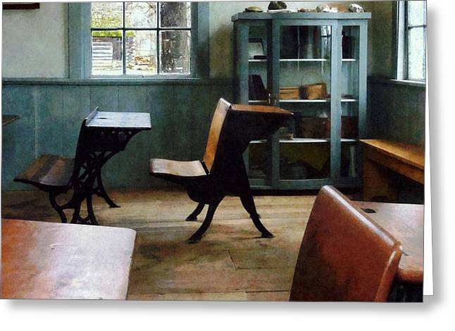 Teacher - One Room Schoolhouse With Clock Greeting Card by Susan Savad