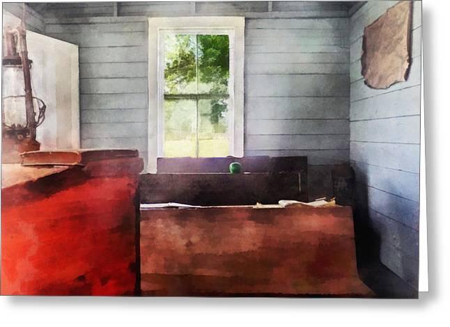 Teacher - One Room Schoolhouse with Hurricane Lamp Greeting Card by Susan Savad