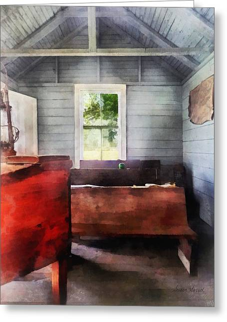 Desk Greeting Cards - Teacher - One Room Schoolhouse with Hurricane Lamp Greeting Card by Susan Savad