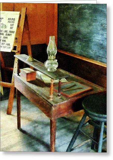 Bell Greeting Cards - Teacher - Teachers Desk With Hurricane Lamp Greeting Card by Susan Savad
