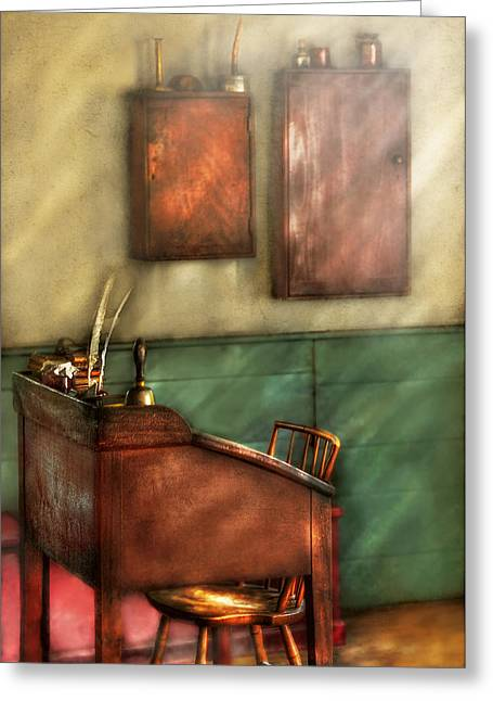 First-class Greeting Cards - Teacher - The Teachers Desk Greeting Card by Mike Savad