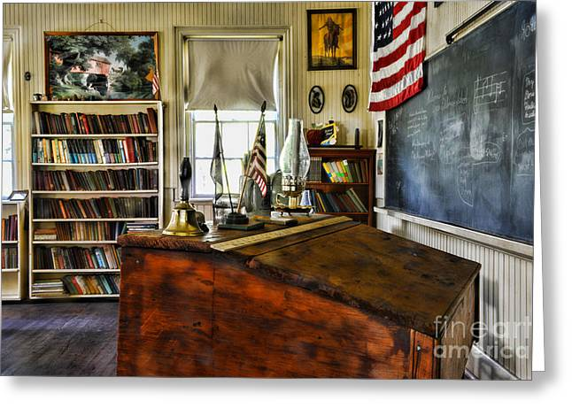 One Room School Greeting Cards - Teacher - Vintage Desk Greeting Card by Paul Ward