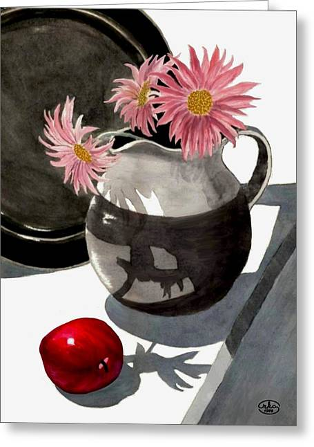 Still Life With Pitcher Paintings Greeting Cards - Teachers Apple Greeting Card by Ronald Chambers