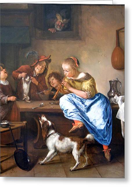Steen Greeting Cards - Teaching A Cat To Dance Greeting Card by Jan Steen