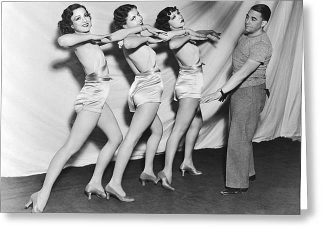 Teaching Dance Moves Greeting Card by Underwood Archives