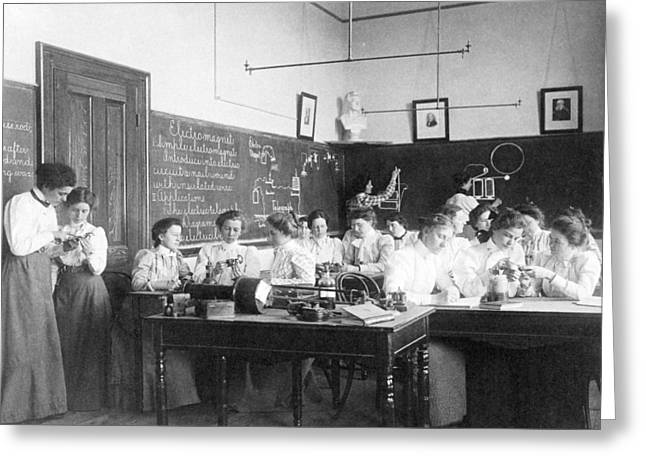 Segregated Schools Greeting Cards - Teaching electromagnetism, circa 1899 Greeting Card by Science Photo Library