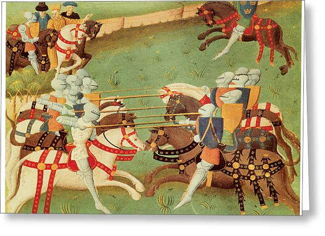 Jousting Greeting Cards - Teaching Knights to Joust Greeting Card by French School