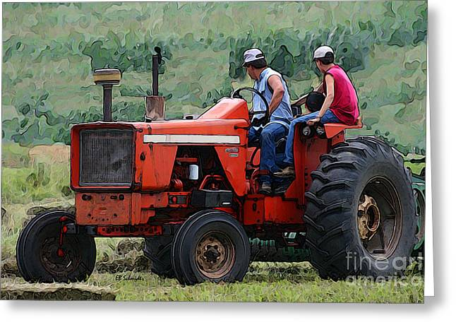 Bailing Hay Greeting Cards - Teaching the Next Generation Greeting Card by E B Schmidt