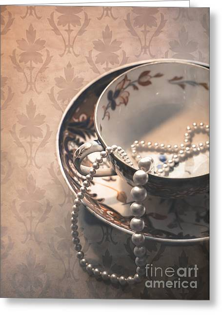 Gold Necklace. Greeting Cards - Teacup and Pearls Greeting Card by Jan Bickerton