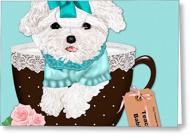 Toy Maltese Digital Art Greeting Cards - Teacup Baby Maltese Greeting Card by Margaret Newcomb