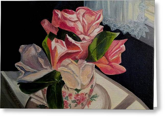 Saucer Peach Greeting Cards - Teacup Roses Greeting Card by Julie Brugh Riffey