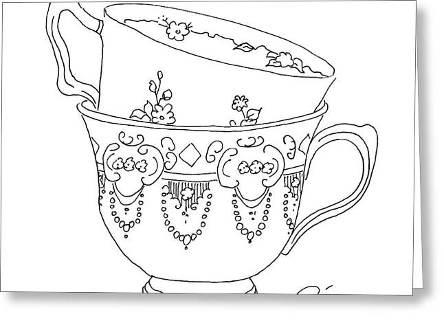 Interior Still Life Drawings Greeting Cards - Teacup Love Greeting Card by Roisin O Farrell