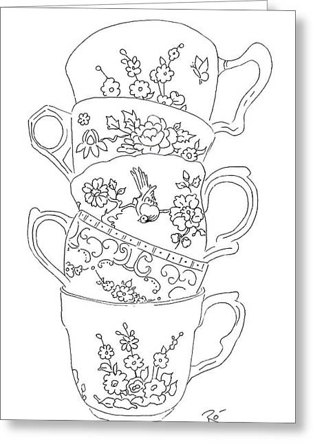 Interior Still Life Drawings Greeting Cards - Teacup Tremble Greeting Card by Roisin O Farrell