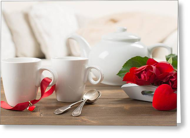 Lounge Greeting Cards - Teacups And Roses Greeting Card by Amanda And Christopher Elwell