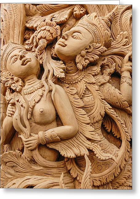 Icons Pyrography Greeting Cards - Teak wood carving Door in Chiangmai Thailand Greeting Card by Phittavas Phupakdee