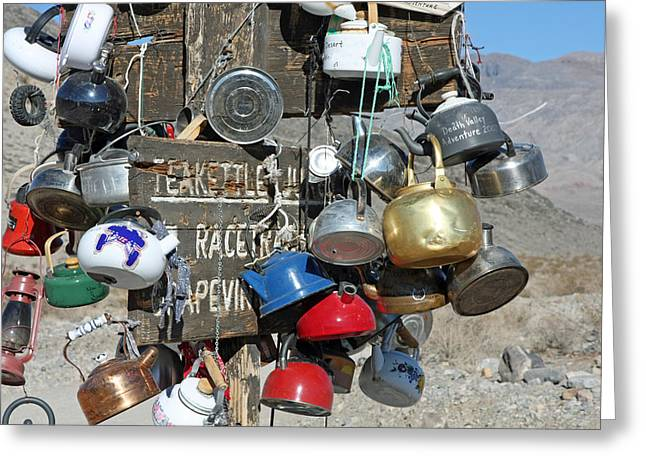 Teakettles Greeting Cards - Teakettle  Junction Death Valley  Greeting Card by Joe Gima
