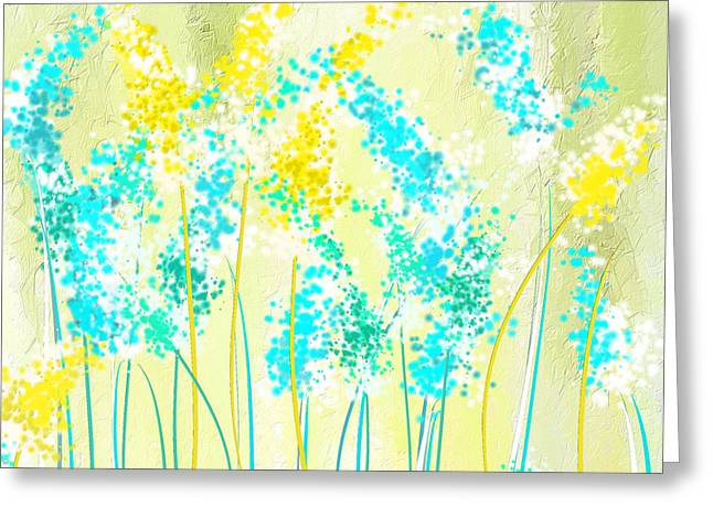 Green Abstract Greeting Cards - Teal And Graces Greeting Card by Lourry Legarde