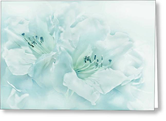 Turquoise Pastel Greeting Cards - Teal Green Azalea Flowers Greeting Card by Jennie Marie Schell