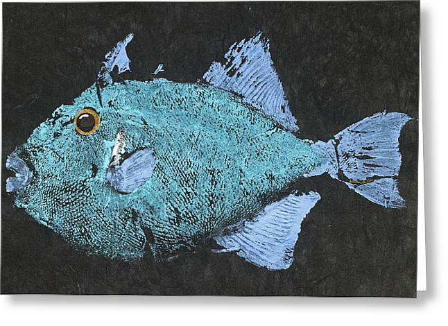 Gyotaku Greeting Cards - Gyotaku Triggerfish Greeting Card by Warren Sellers