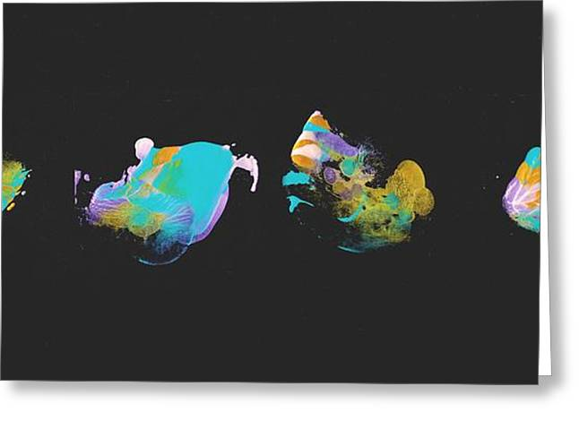 Jelly Fish Paintings Greeting Cards - Teal Jellyfish Quartet Greeting Card by Rick Hurst
