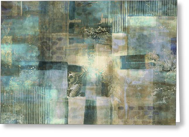 Teal Luminous Layers Greeting Card by Lee Ann Asch