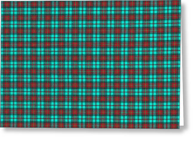 Checked Tablecloths Photographs Greeting Cards - Teal Red And Black Plaid Fabric Background Greeting Card by Keith Webber Jr