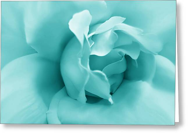 Green Pastel Greeting Cards - Teal Rose Flower Greeting Card by Jennie Marie Schell