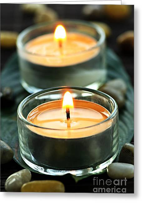 Wax Greeting Cards - Tealights Greeting Card by Elena Elisseeva