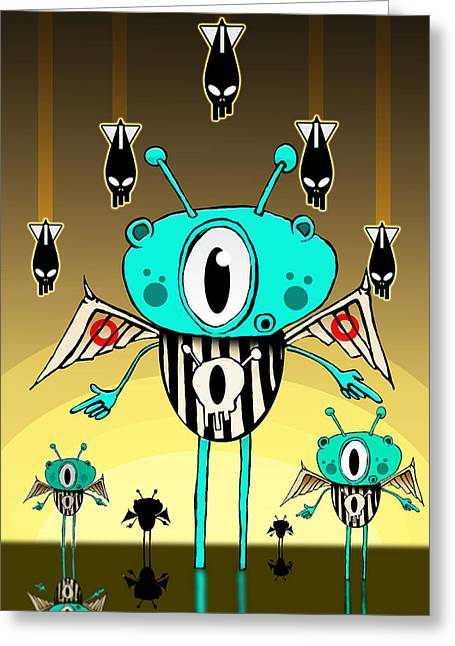 Alien Drawings Greeting Cards - Team alien Greeting Card by Johan Lilja
