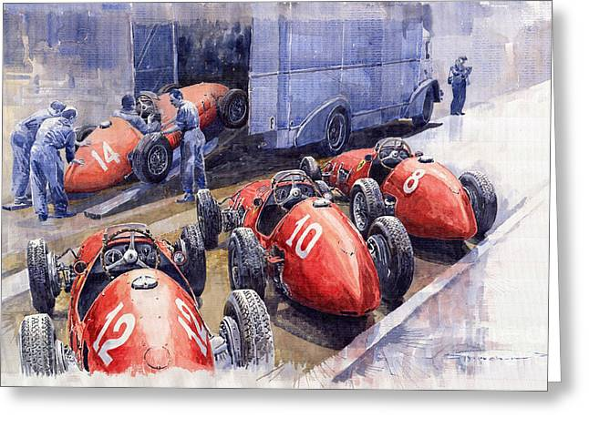 Team Ferrari 500 F2 1952 French GP Greeting Card by Yuriy  Shevchuk