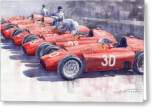 Team Lancia Ferrari D50 Type C 1956 Italian Gp Greeting Card by Yuriy  Shevchuk