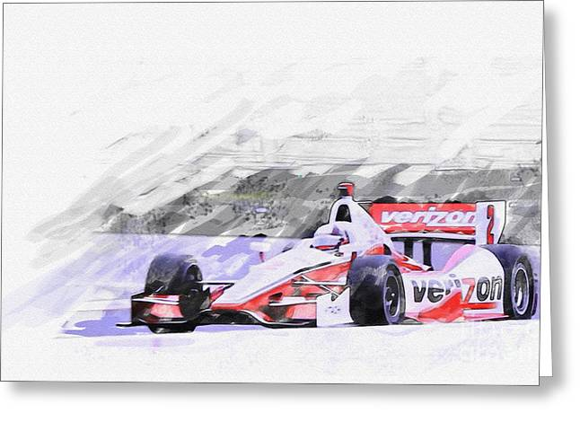 Indy Car Greeting Cards - Team Penske Dallara Chevrolet Indy Car  Greeting Card by Roger Lighterness