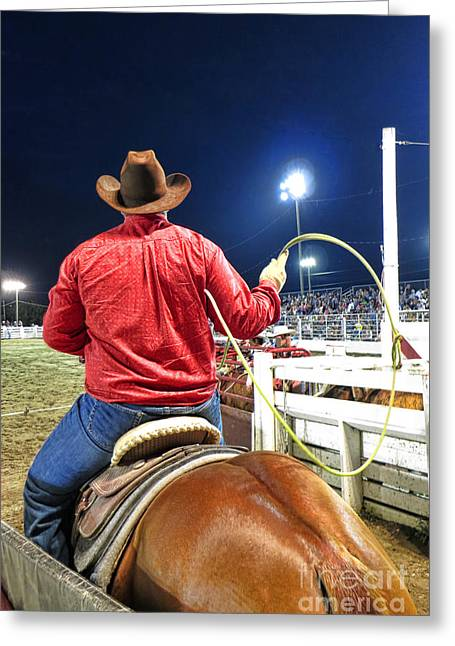 Rodeo Photographs Greeting Cards - Team Roper Greeting Card by Olivier Le Queinec