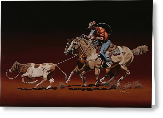 Dogie Greeting Cards - Team Roping Greeting Card by Hugh Blanding